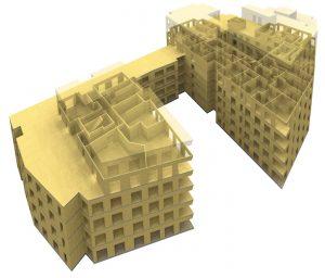 Le plus important chantier en CLT est lancé à Hackney, Londres en mars 2015 : 121 logements et 3.400 m3 de bureaux – image : Waugh Thistleton arch.
