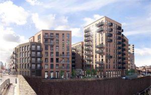 Le CLT étant utilisé comme système structurel, le bois ne sera pas apparent : les façades de ce bâtiment seront habillées en briquettes – image : Waugh Thistleton arch.